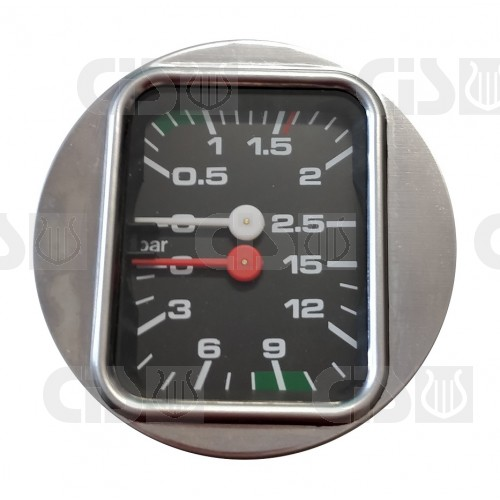 Boiler pump pressure gauge Ø63 - Dual scale 2.5-15 bar - G1/8 connections