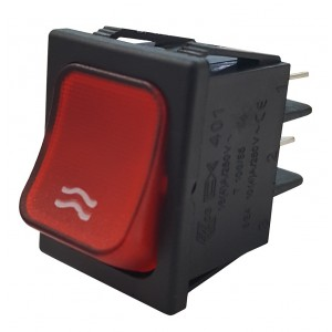 RED BIPOLAR SWITCH WITH LIGHT - WATER PRINTING