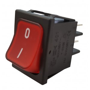 RED BIPOLAR SWITCH WITH LIGHT - 0-I PRINTING