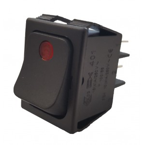 BLACK BIPOLAR SWITCH WITH RED LED INDICATOR LIGHT