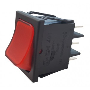 CHANGEOVER SWITCH 2 POLE RED - WITH LIGHT