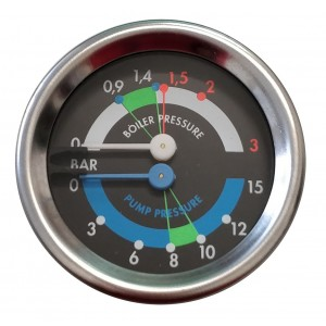 Boiler pump pressure gauge Ø60 - Dual scale 3-15 bar - G1/8 connections