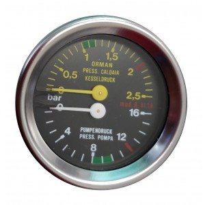 Boiler pump pressure gauge - Ø60 Dual scale 2.5-16 bar - G1/8 connections
