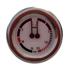 Boiler pump pressure gauge - Dual scale 2.5-15 bar - G1/8 connections with nuts