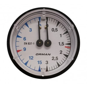 Boiler pump pressure gauge - Ø60 Dual scale 3-15 bar - G1/8 connections
