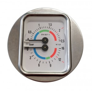 Boiler pump pressure gauge - Ø63 Dual scale 2.5-16 bar - G1/8 connections