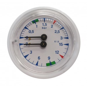 Boiler pump pressure gauge Ø63 - Dual scale 3-15 bar - G1/8 connections